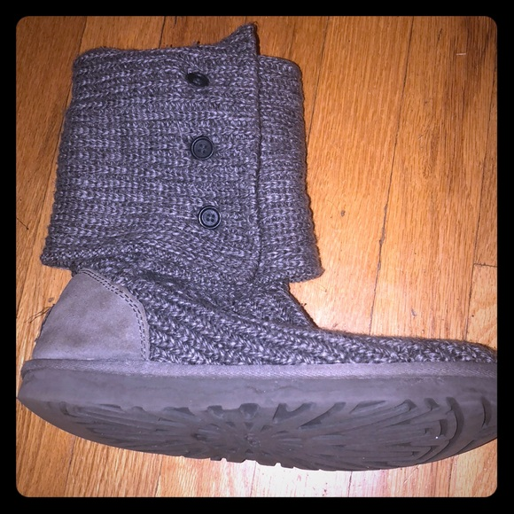 Ugg Shoes Grey Knit Multiple Style Button Boots Poshmark